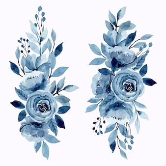 Insieme blu floreale del mazzo dell'acquerello