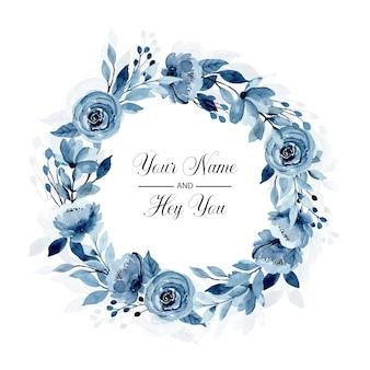 Corona floreale dell'acquerello blu