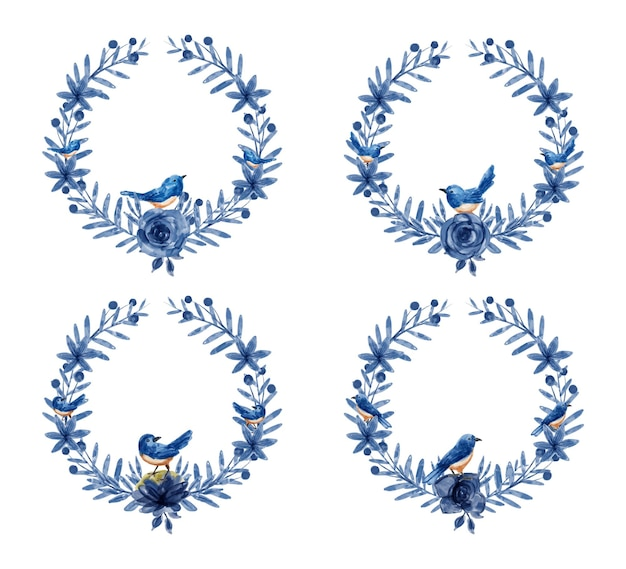 Ghirlanda floreale blu con acquerello