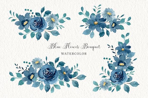 Collezione di bouquet di fiori blu con acquerello