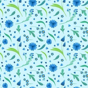 Modello senza cuciture dei fiori blu dei fiori