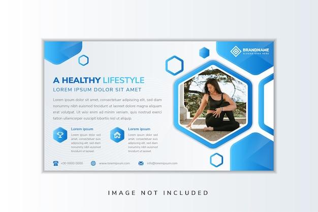 Il design del modello di volantino blu con titolo di esempio è uno stile di vita sano. esagono per lo spazio del collage di foto.
