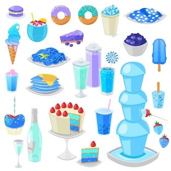 Cibo blu vettore torta bluastra con mirtilli e dessert dolce con bevande bluastre illustrazione ciano set di ciambella acquamarina o gelato blueness isolato su sfondo bianco