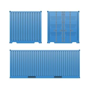 Container blu. grande contenitore per una nave isolata vista frontale e laterale.