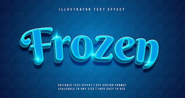 Effetto carattere stile testo incandescente congelato blu