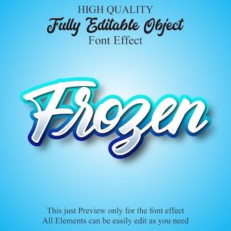 Effetto carattere modificabile script blu congelato