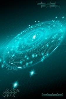 Sfondo tecnologico futuristico blu in stile cyberpunk arte digitale design di cartoline poster b...