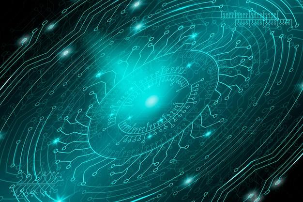 Sfondo tecnologico futuristico blu in stile cyberpunk