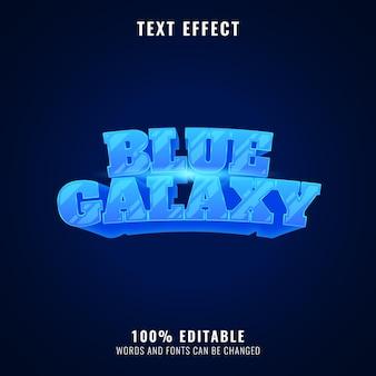 Effetto di testo del titolo del gioco del gioco spaziale lucido fantasia galassia blu