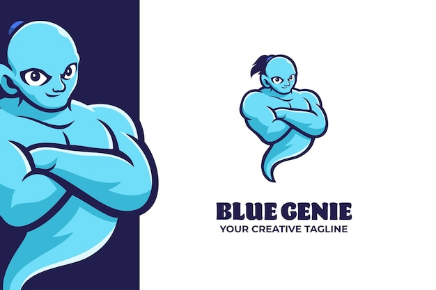Modello di logo del personaggio mascotte del genio blu