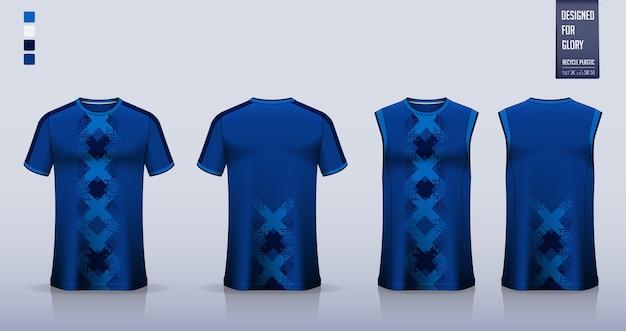 T-shirt sportiva astratta geometrica blu uniforme