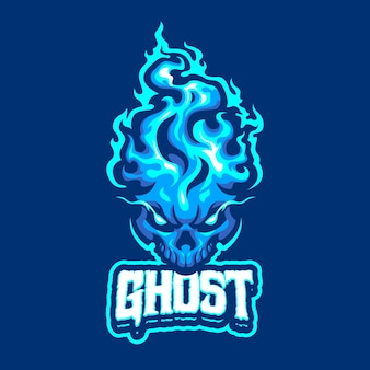 Logo mascotte fantasma blu per sport e sport di squadra