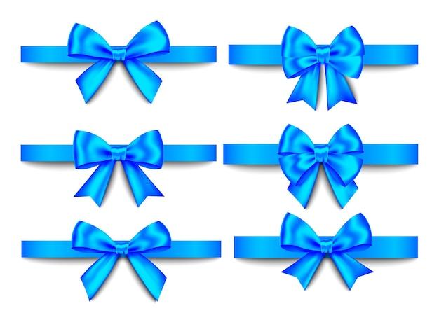 Set di fiocchi regalo blu isolato su sfondo bianco
