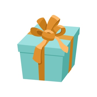 Scatola regalo blu con nastro dorato e fiocco in raso