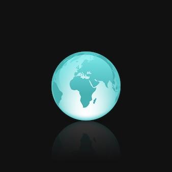Mappamondo in vetro blu con riflessi lucidi
