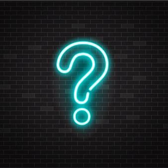 Punto interrogativo o segno al neon di contorno incandescente blu su sfondo nero.