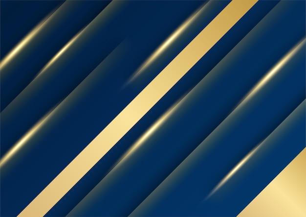 Fondo astratto di presentazione di affari dell'oro e del blu. modello astratto blu scuro di lusso con fondo oro. texture mezzitoni luccicanti dorati colorati con elementi dorati realistici lucidi.
