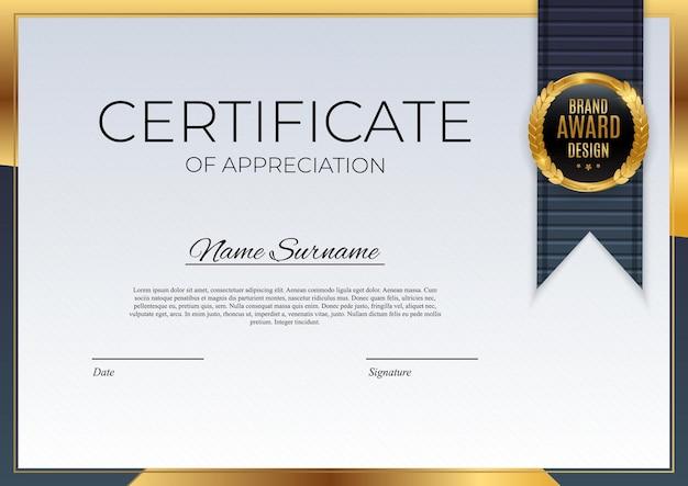 Certificato blu e oro del modello di realizzazione sfondo con badge oro e bordo. premio diploma design vuoto. illustrazione di vettore eps10