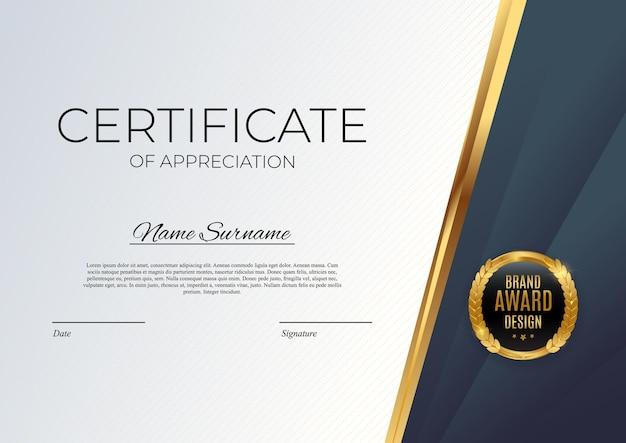 Certificato blu e oro del modello di realizzazione sfondo con badge oro e bordo. premio diploma design vuoto.