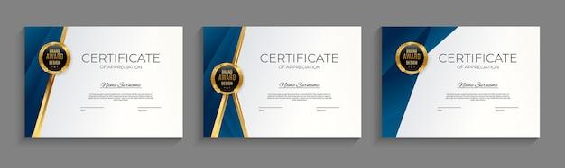 Certificato blu e oro del modello di realizzazione impostato sfondo con badge oro e bordo