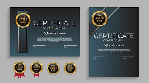 Certificato blu e oro del modello di realizzazione impostato con distintivo d'oro Vettore Premium