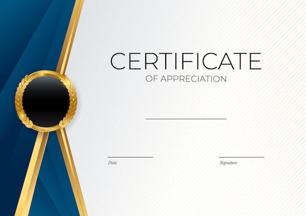 Modello di certificato di successo blu e oro