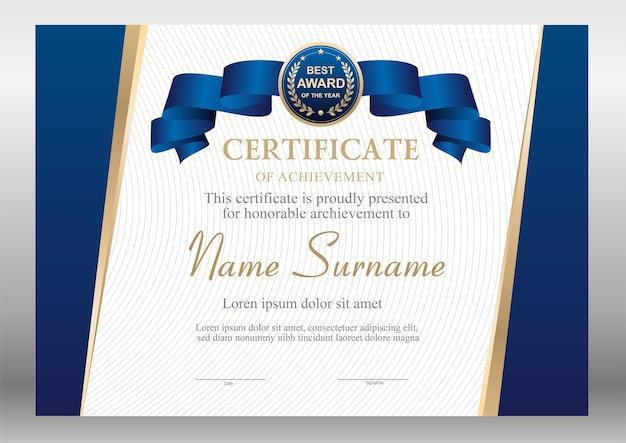 Certificato blu e oro con modello di nastro
