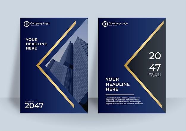 Elementi di modelli di presentazione di copertina blu e oro Vettore Premium