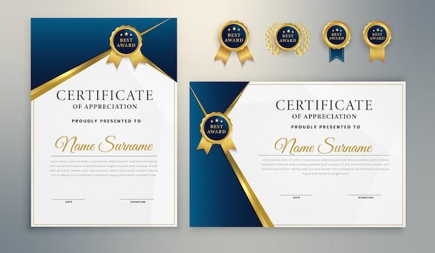 Modello di certificato di premio elegante oro blu