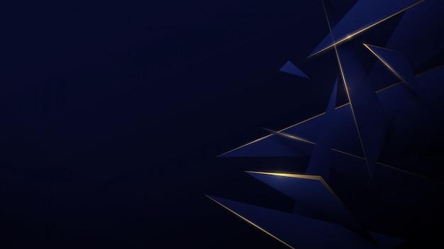 Estratto di poli basso blu e oro. tecnologia digitale hi tech sfondo.