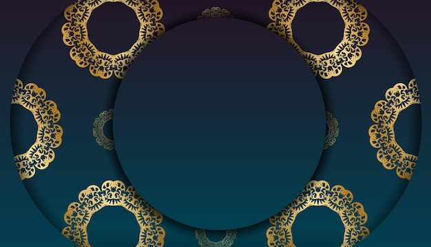 Banner sfumato blu con lussuoso ornamento dorato per il design sotto il tuo logo