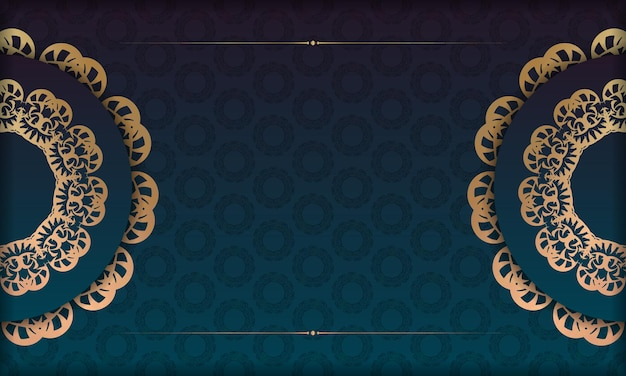 Banner sfumato blu con ornamento d'oro vintage per il design sotto logo o testo