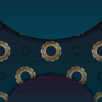 Banner sfumato blu con motivo oro vintage e posto per logo o testo