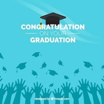 Sfondo di congratulazione blu graduazione Vettore Premium