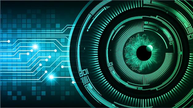 Fondo futuro di concetto di tecnologia del circuito cyber dell'occhio verde blu