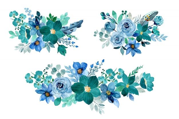 Collezione bouquet floreale verde blu con acquerello