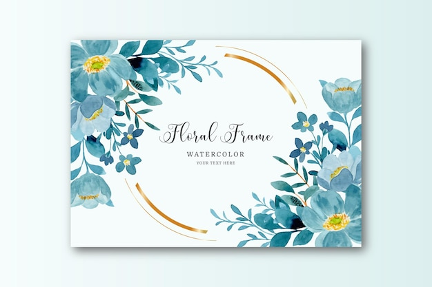 Carta cornice floreale verde blu con acquerello