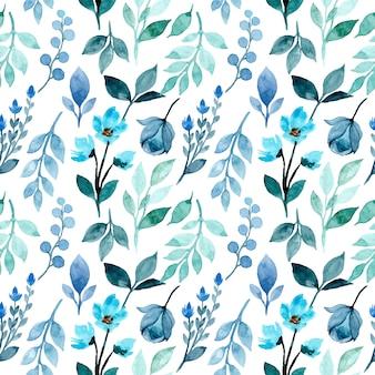 Modello senza cuciture dell'acquerello floreale verde blu