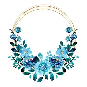 Acquerello di corona floreale verde blu con cornice dorata