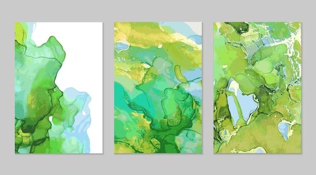 Pittura astratta in marmo blu verde oro con tecnica ad inchiostro alcolico
