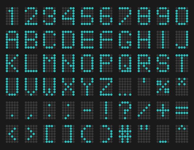 Carattere della scheda di pianificazione dell'aeroporto digitale a led blu verde