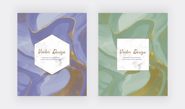 Inchiostro liquido blu e verde con carte texture glitter oro.