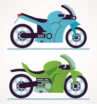 Illustrazione delle icone dei veicoli di stile dei motocicli della corsa blu e verde