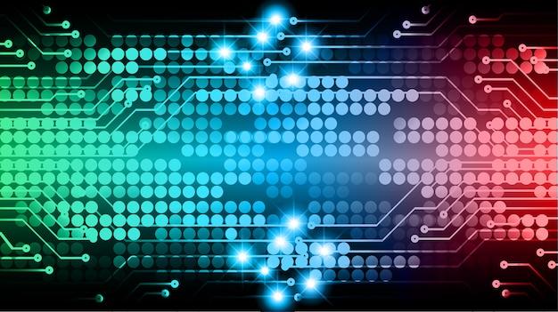 Fondo futuro di concetto di tecnologia del circuito cyber rosso verde blu