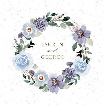 Corona floreale dell'acquerello di matrimonio verde blu