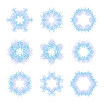 Set rosette guilloché blu