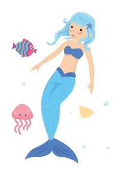 Principessa dai capelli blu della sirena nel mare