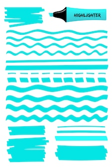 Linee disegnate a mano blu, quadrato ed evidenziatore