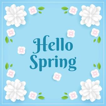 Saluto blu del fiore di primavera ciao