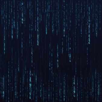 Flusso di dati casuali esadecimali blu. numeri di matrice. visualizzazione di big data. fondo astratto di fantascienza o futuristico. illustrazione del capo